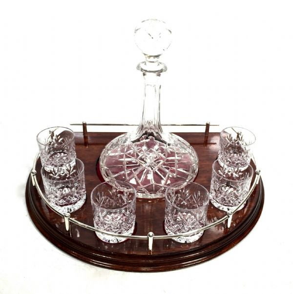 Antique 7 Piece Ships Decanter Set and 6 Cut Royal Doulton Crystal Port Glasses